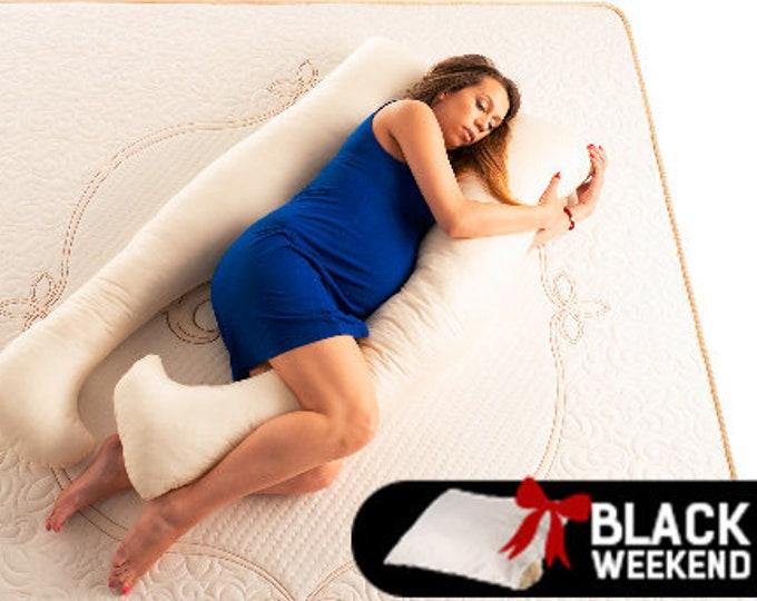 Wool Pregnancy Pillow, Organic Wool Pillow, U Shaped Pillow, Support Pillow, Side Sleeping Pillow, Merino Wool Pillow, Black Friday Deals