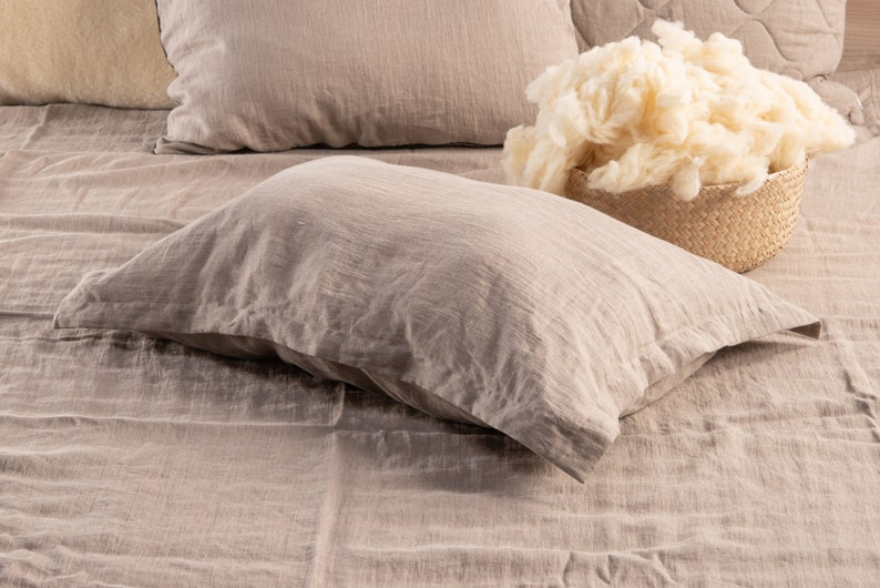 Wool filled pillow Oxford style pillowcase natural linen Natural linen color