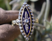 Navette blue enamel ring, diamonds, carved yellow gold and silver, rose cut diamonds, marquise, mid-20th, Netherlands, estate, free delivery
