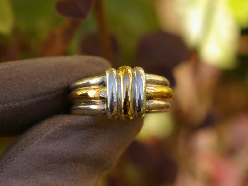 Two-tone sterling silver ring enhanced with yellow gold