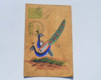 vintage A lovely old Rajasthan miniature painting Indian postcard of peacock art