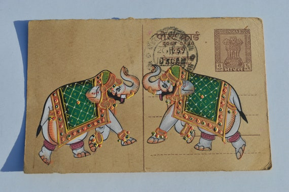 A LOVELY OLD RAJASTHAN MINIATURE PAINTED INDIAN POSTCARD OF AN ELEPHANT