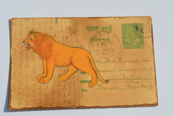 A LOVELY OLD RAJASTHAN MINIATURE PAINTED INDIAN POSTCARD OF A COW  NO 132