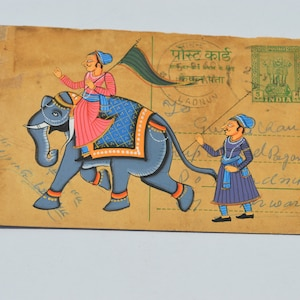 vintage A lovely old Rajasthan miniature  painting Indian postcard of a indian  elephants art