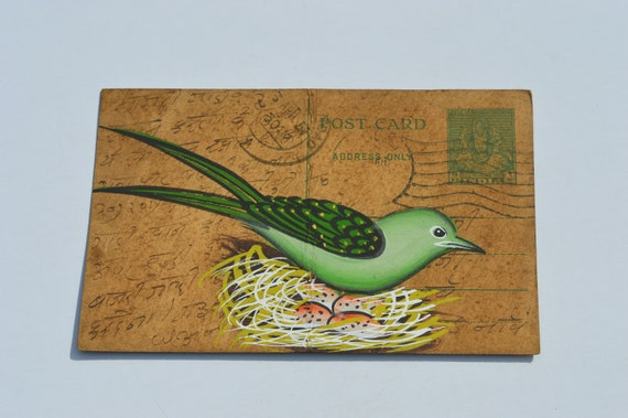 AN OLD RAJASTHAN MINIATURE PAINTED INDIAN POSTCARD OF A INDIAN BIRD  NO 009