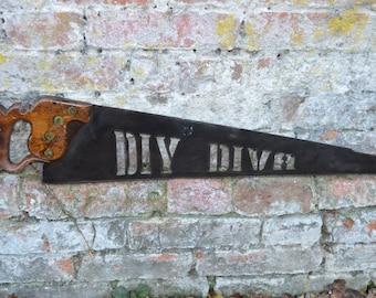 Antique vintage wood saw metal plasma  cutout diy diva  , industrial  sign  Plaque  art unusual  gift present