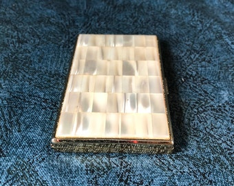 Mother of pearl card holder etsy vintage colibri mother of pearl business card case or holder colourmoves