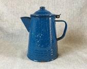 Blue Enamelware Coffee Pot