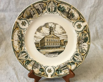 Vintage Imperial Salem Boston Collectors Plate, Faneuil Hall Decorator Plate