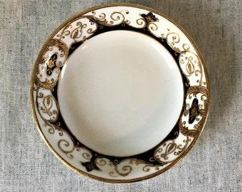 Vintage Noritake Black and Gold Encrusted Sauce Bowl, Pattern 20056, Dessert or Fruit Bowl