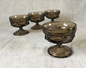Vintage Anchor Hocking Fairfield Brown Sherbet or Champagne Glasses, Set of 4