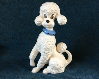 Vintage Ceramic White French Poodle with Blue Collar, Poodle Statue