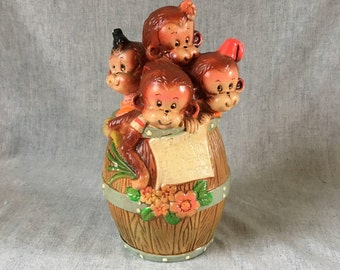 Vintage Barrel of Monkeys Coin Bank, Childs Piggy Bank