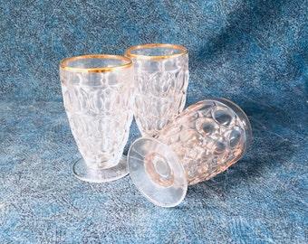 Vintage Jeannette Thumbprint Juice Glasses, Set of 3