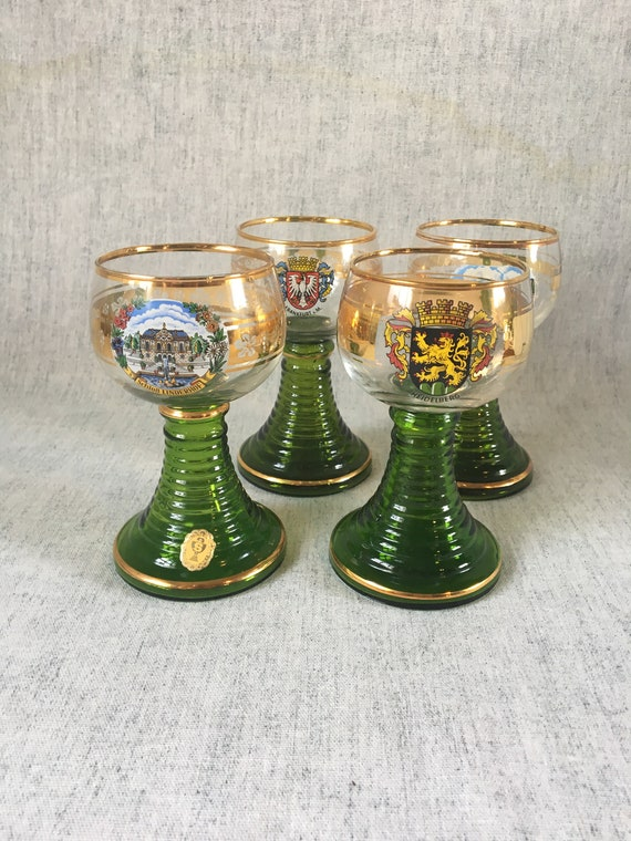 Green Roemer Wine Glasses, Set of 4, Germany Souvenir Glasses