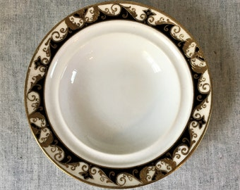 Vintage Noritake Black and Gold Encrusted Coupe Soup Bowl, Pattern 20056