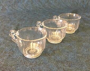 Vintage Cambridge Glass Martha Punch Cups, Set of 3