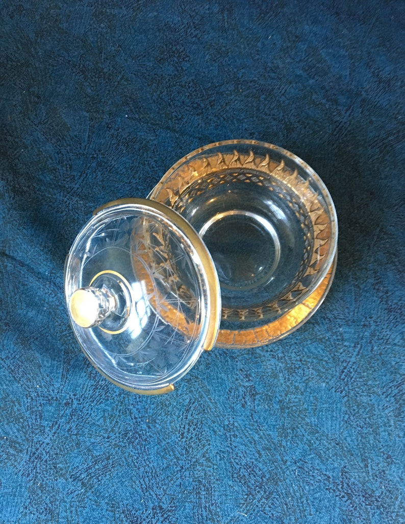 Vintage Covered Gold Flame Etched Mayonnaise or Dip Bowl with Underplate Mid Century Modern