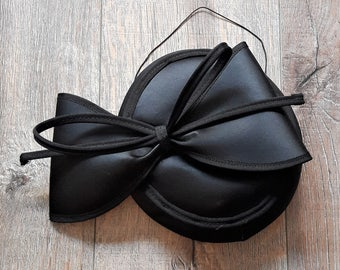 Vintage Black Bow Satin Head Fascinator Hat