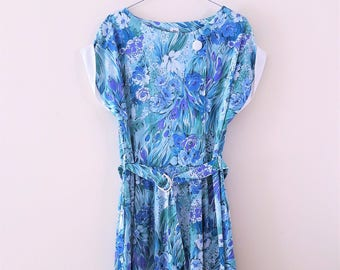 Vintage Sleeveless Retro Floral Belted Day Dress