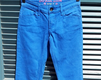 SALE // Electric Blue Golf Punk Denim Skinny Jeans