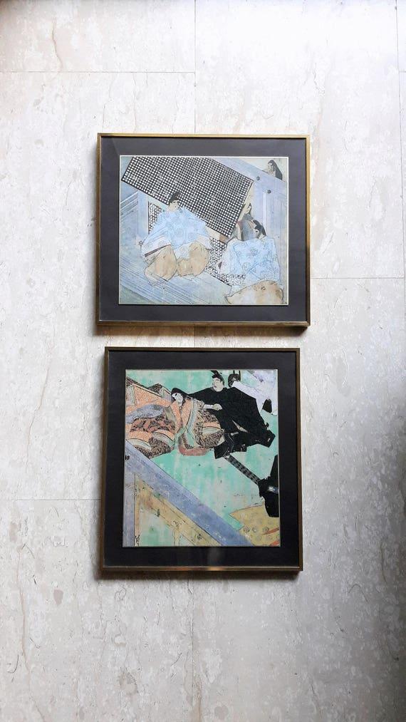 0dd65a972e73 Vintage Colourful Japanese Gold Framed Art Prints