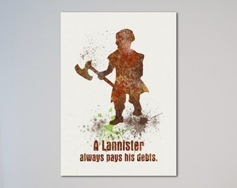 Tyrion Lannister House Lannister Quote Words Print A Lannister Always Pays His Debts Game of Thrones