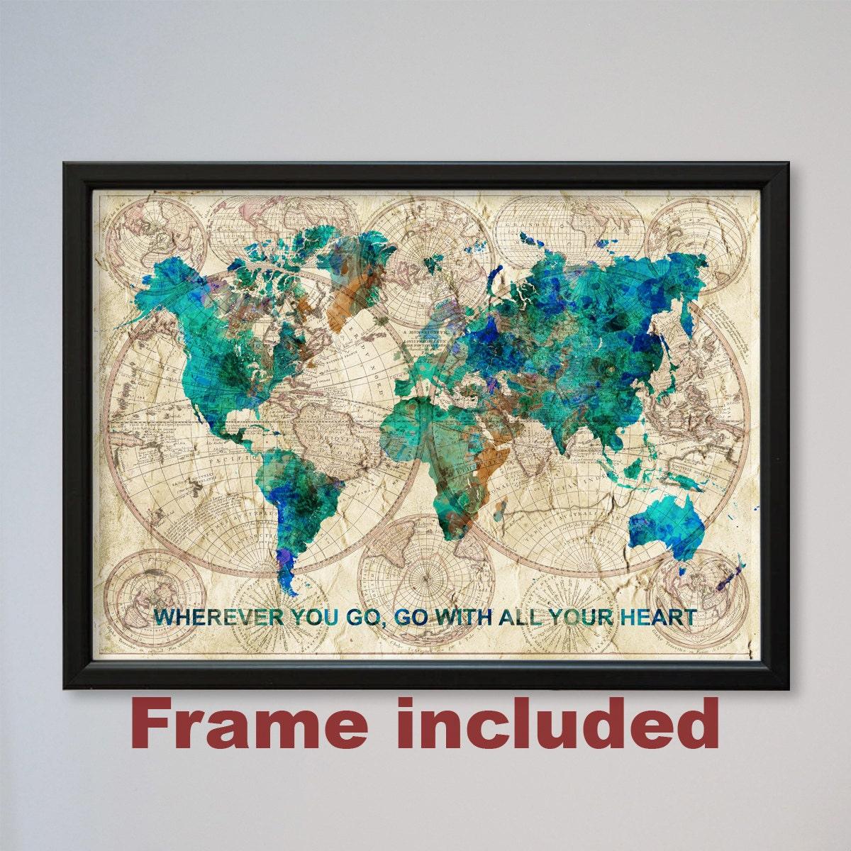 Welt Karte gerahmt Konfuzius Zitat Aquarell Druck Poster alte | Etsy