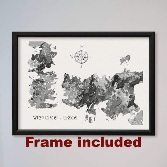 Game Of Thrones Map Print Poster Watercolor Westeros and Essos