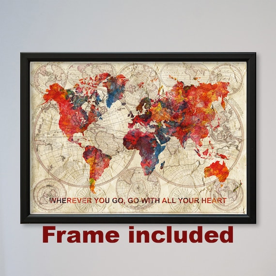 World Map Framed Watercolor Poster Old World Map Confucius Etsy