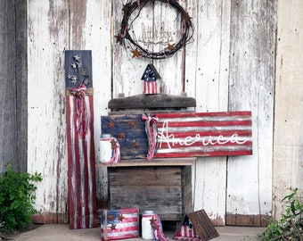 Attractive Flag, Usa, U.s.a., Farmhouse Decor, American Flag, Americana Decor, Rustic Home  Decor, Little Box Sign, 4th Of July, America