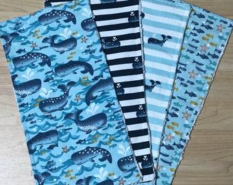 fish navy baby Shower gift aqua 2 Pc Set Super Soft Rag Baby Burp Cloths whales blue