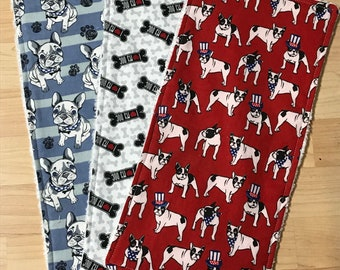 Boston terrier burp cloths - set of 3 - boston bull burp cloths - dog lover burp rags - gender neutral burp cloths - french bulldog