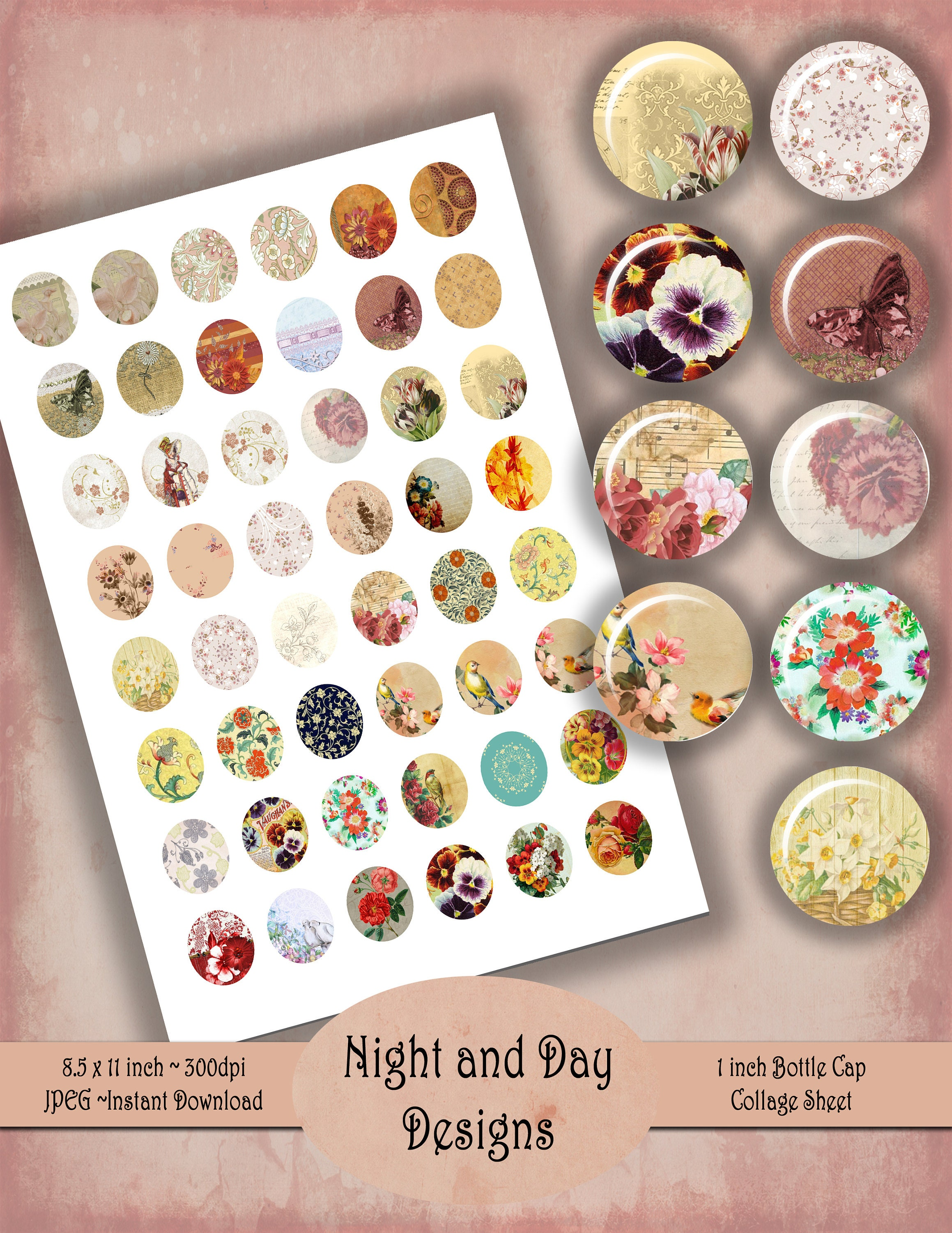 #YNY03 Instant Download 1 Inch Bottle Cap Size Printable Butterflies Collage Sheet