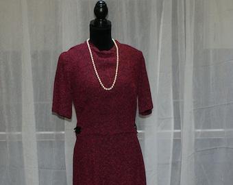 1960s Union Made Jackie Kennedy Inspired Tweed Vintage Red Dress Burgundy