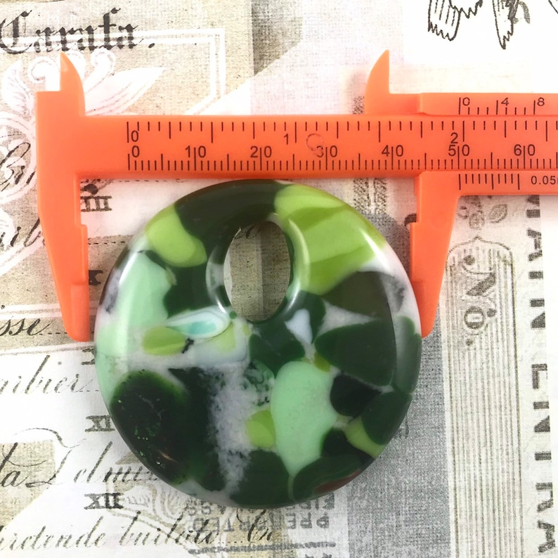 Round Jewelry Large Pendant Fused Glass Pendant Art Glass Green Glass Necklace Adjustable Satin Cord Statement Jewelry Glass Jewelry