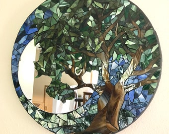 Mosaic Mirror, Mosaic Tree, Stained Glass Tree, Round Mosaic Mirror, Broken Glass Mosaic, Wall Hanging, Tree Home Decor, Mosaic Art Glass