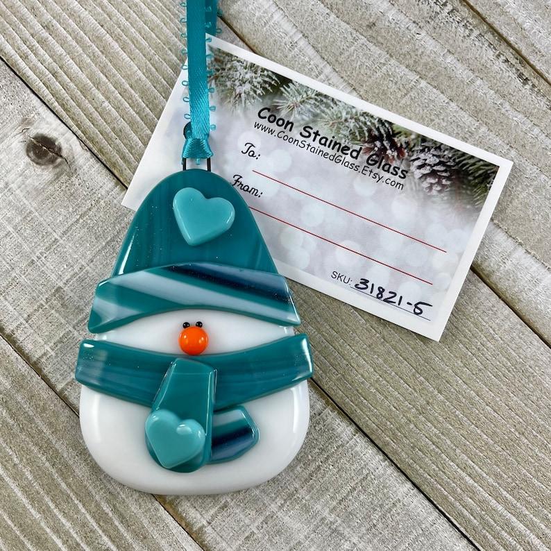 Cute Snowman Tree Decoration Chubby Snowman Ornament Fused Glass Snowman Fat Snowman Glass Ornament Christmas Ornament