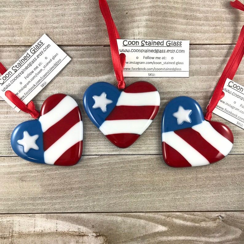 1b7c9686a54a American Flag Ornament Fused Glass Ornaments Patriotic Gift