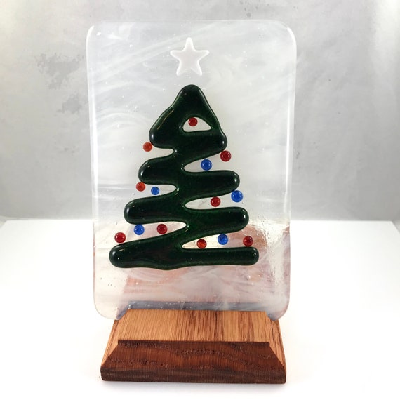 Christmas Tree Display Stand.Fused Glass Christmas Tree Glass Tile Christmas Tree Candle Holder Tea Light Holder Glass Display Stand Christmas Decoration Holiday