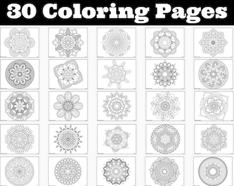Coloring Pages Instant Download Printable Coloring Book 30 different Mandalas