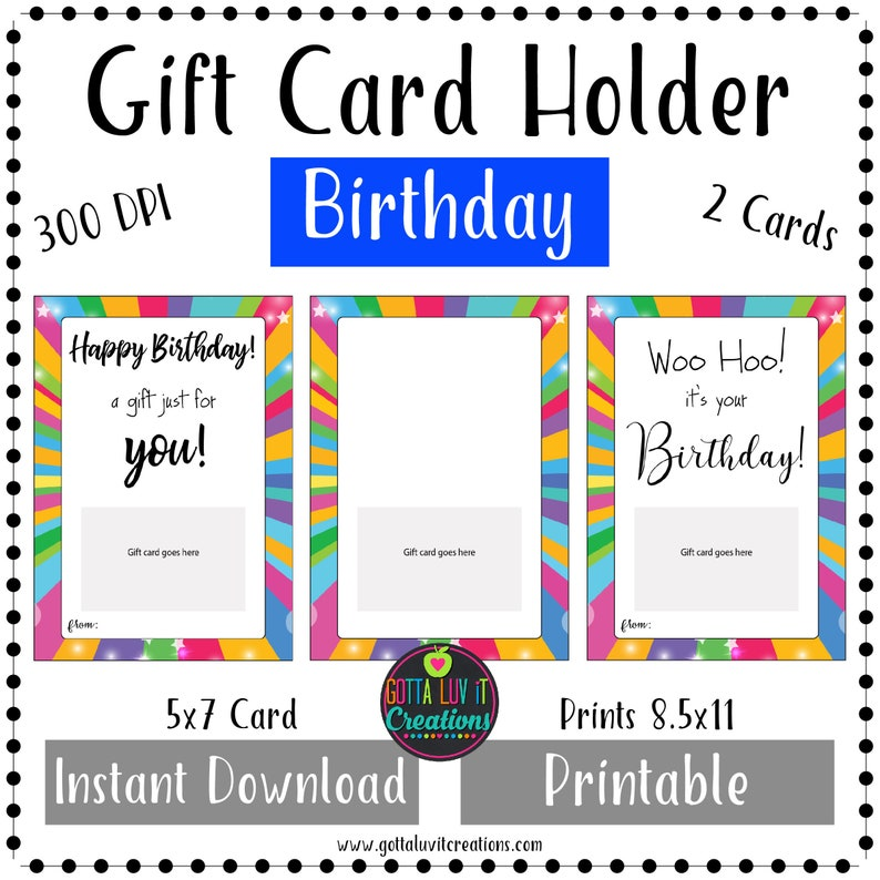 Birthday Gift Card Holder Money Printable Instant Download Happy DIY