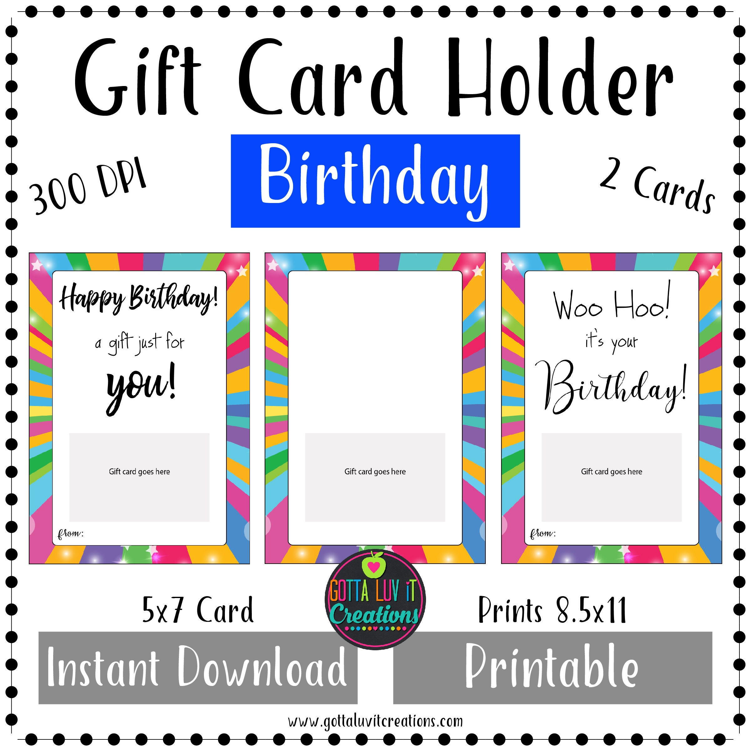 Birthday Gift Card Holder Money Printable Instant