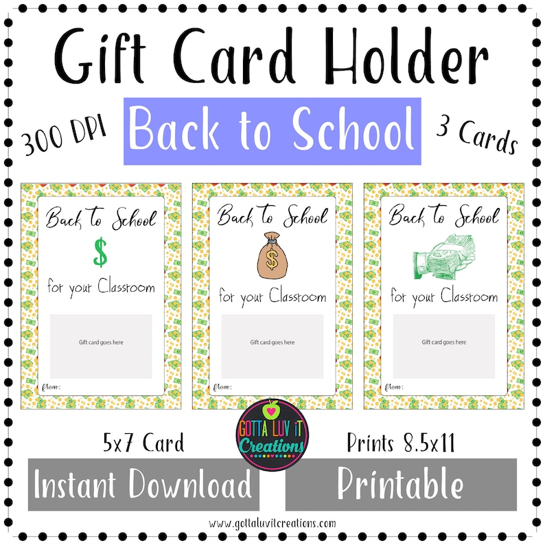 Back to School Gift Card Holder Printable Instant Download Money Holder  Back to School Money Teacher Gift Card First Day of School