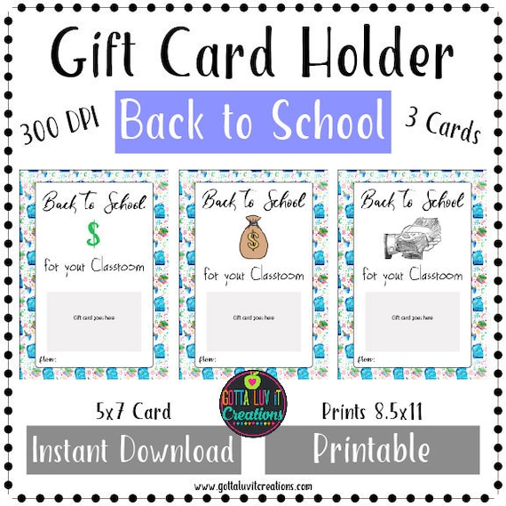 photo relating to Classroom Money Printable named Back again toward Higher education Reward Card Holder Printable Prompt Down load Revenue Holder Again toward College or university Monetary Instructor Reward Card 1st Working day of Higher education