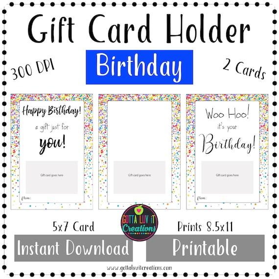 Birthday Gift Card Holder Birthday Money Printable Instant