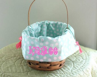 Seasonal Easter Basket Liner - Seafoam Polka Dot
