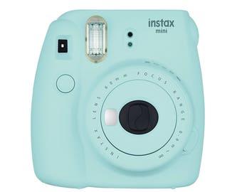 Fujifilm INSTAX Mini 9 Camera - Ice Blue | Fuji Instant Camera w\ Selfie Mirror, Macro Lens adapter for close-ups
