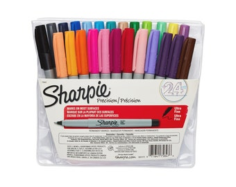 24 Sharpie Markers - Ultra Fine Point | Extra Fine Tip Sharpies | Permanent Colored Markers | Colors, Color Marker Pens, 24 Pack, Drawing
