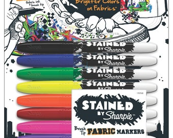 8 Sharpie Fabric Markers - Brush Tip | Sharpie Stained Fabric Marker | Brush Tipped Fabric Sharpies | Fabric Pens | Clothing Markers